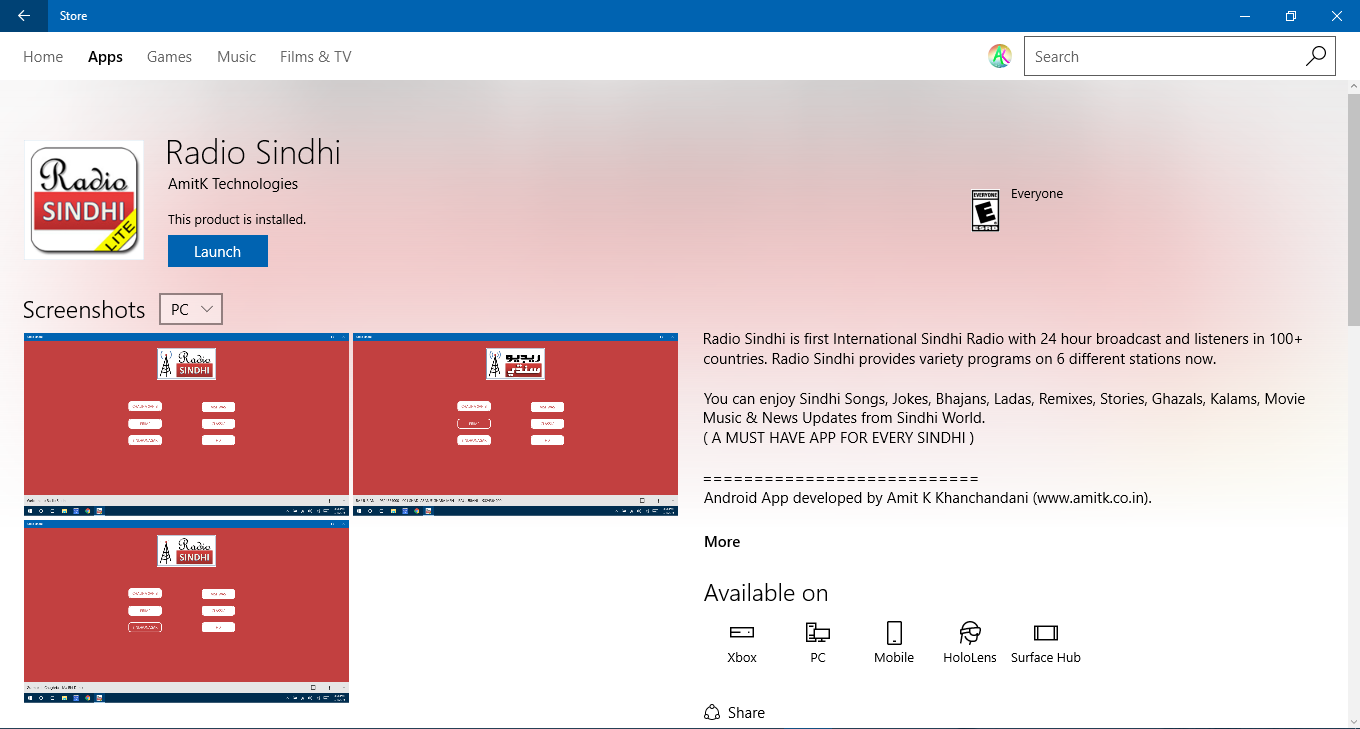 Radio Sindhi on Microsoft Windows Store
